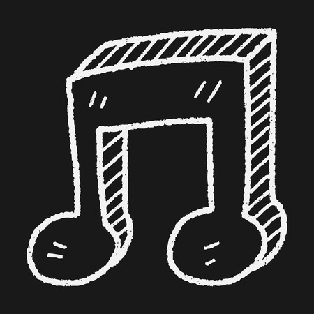 music buttons: music note doodle Illustration