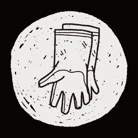 latex glove: clean glove doodle Illustration