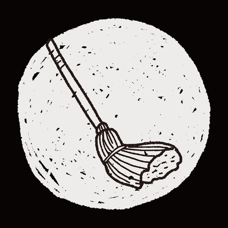 broom handle: mop doodle Illustration
