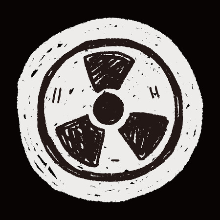 uranium radioactivity: nuclear energy doodle