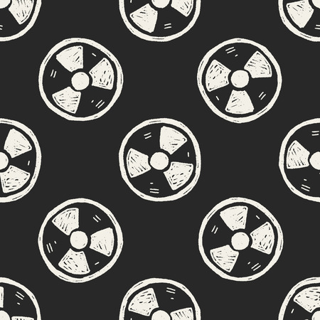 uranium: nuclear energy doodle seamless pattern background