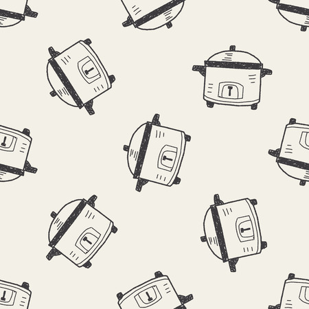 slow food: fornello di doodle seamless Vettoriali