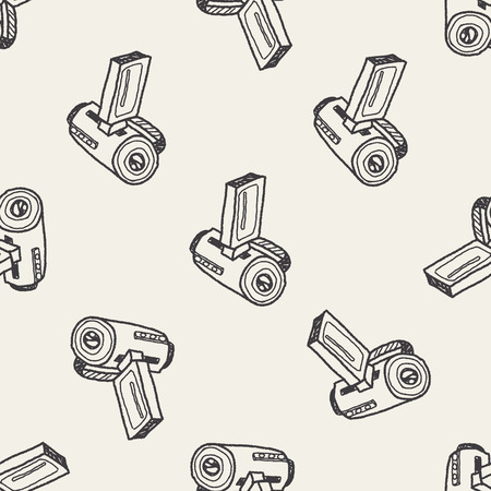 camera doodle seamless pattern background Vector