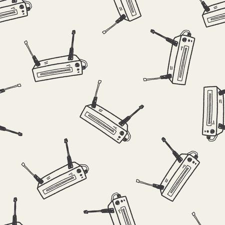 ethernet: modem doodle seamless pattern background Illustration