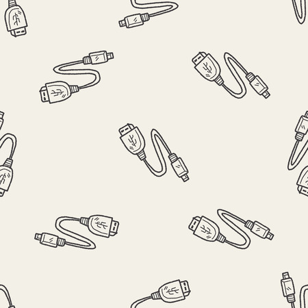 serial: usb doodle seamless pattern background Illustration