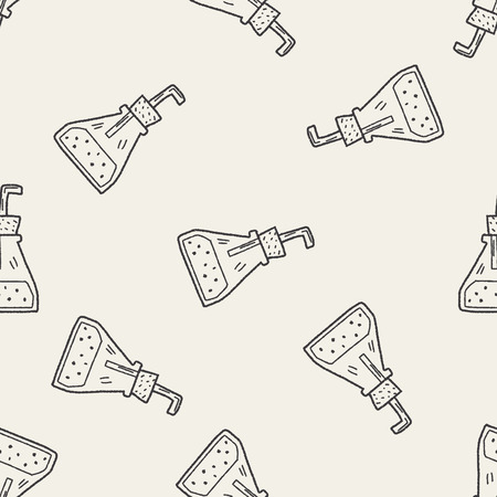 Doodle Test tube seamless pattern background Vector