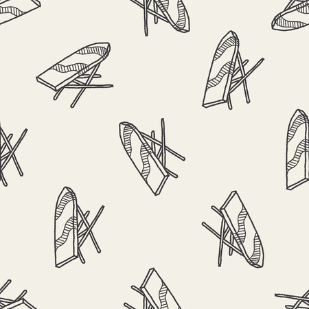 steam iron: iron board doodle seamless pattern background