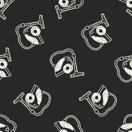 hoover: vacuum doodle seamless pattern background