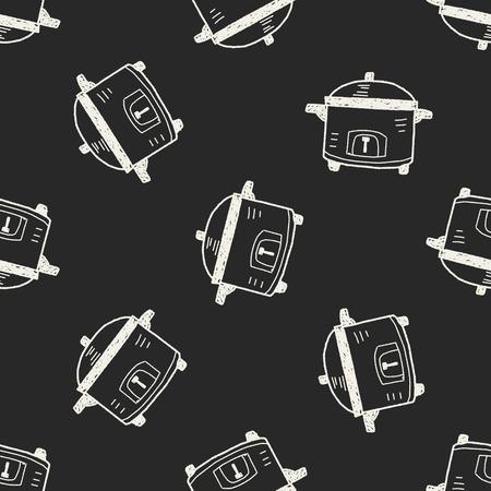 crock: cooker doodle seamless pattern background Illustration