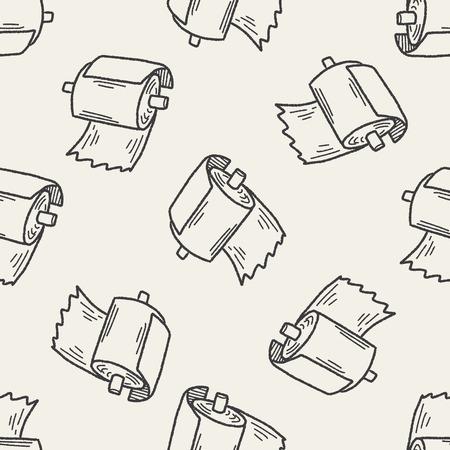 inodoro: papel higiénico doodle de fondo sin fisuras patrón