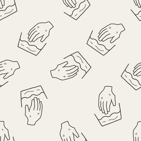wash hand: wash hand doodle seamless pattern background Illustration