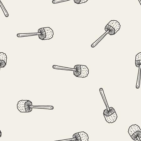 toilet brush: toilet brush doodle seamless pattern background Illustration