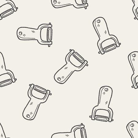 peeler doodle seamless pattern background Vector