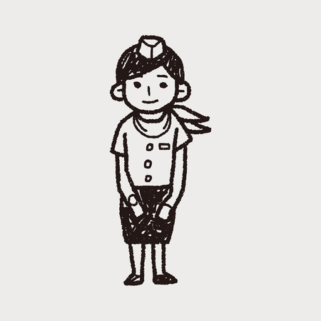 attendant: Flight Attendant doodle Illustration