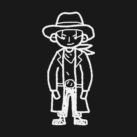 cowboy doodle Vector