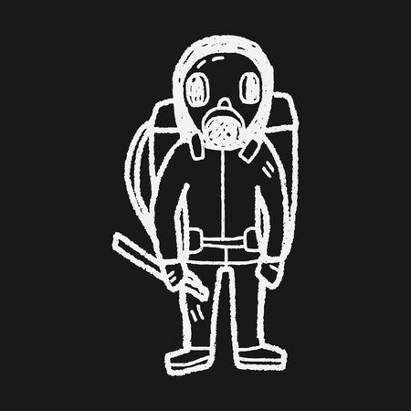 radiation protection suit: gas mask doodle