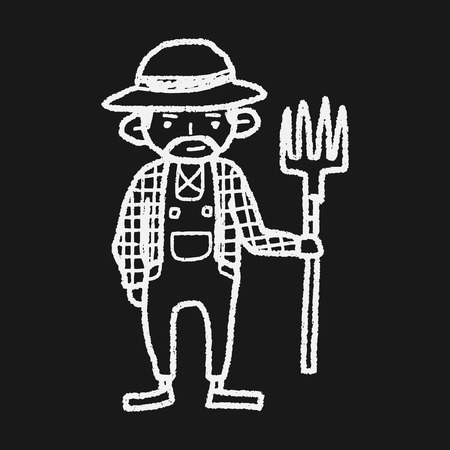 farmer doodle Vector