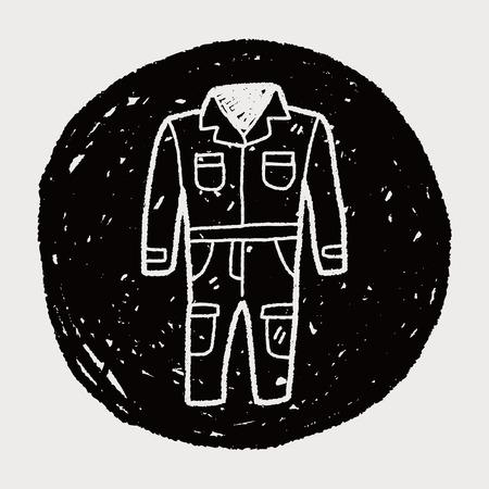 overol: doodle de guardapolvos Vectores
