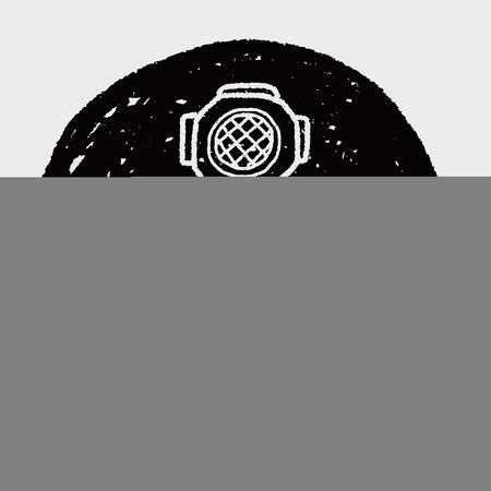 diver doodle Vector