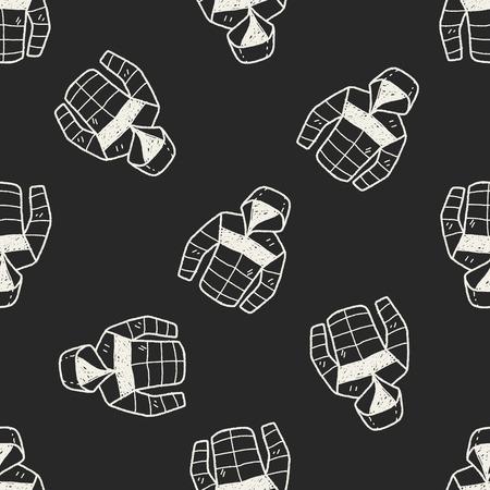 Coat doodle seamless pattern background