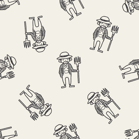 farmer doodle seamless pattern background Vector