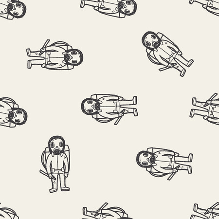 radiation suit: gas mask doodle seamless pattern background