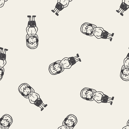 call centre girl: service doodle seamless pattern background