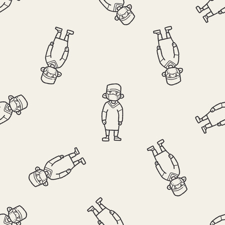 doctor doodle seamless pattern background Vector