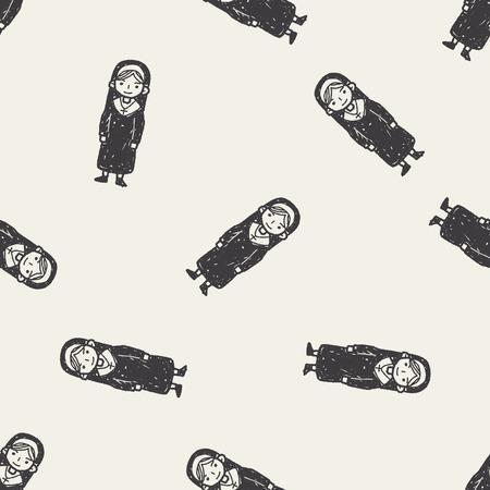 catholic nuns: nun doodle seamless pattern background