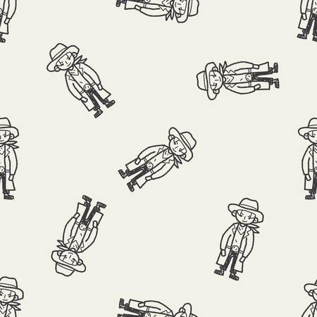 cowboy doodle seamless pattern background Vector