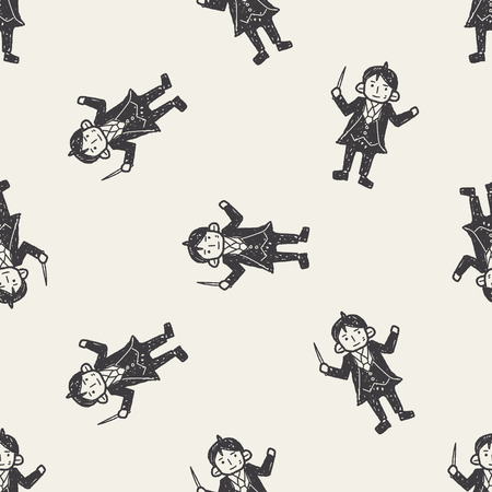 conductor: conductor doodle seamless pattern background