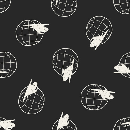 airplane doodle seamless pattern background Vector