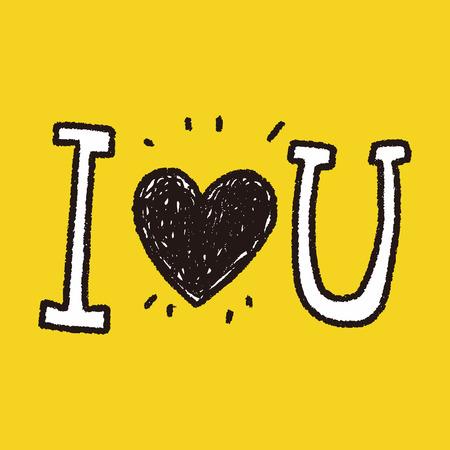 I love you doodle Ilustração