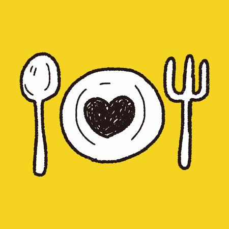 hou diner doodle Stock Illustratie