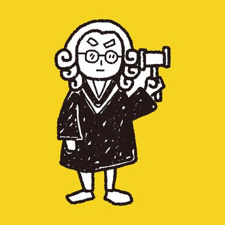 advocaat rechter doodle Stock Illustratie