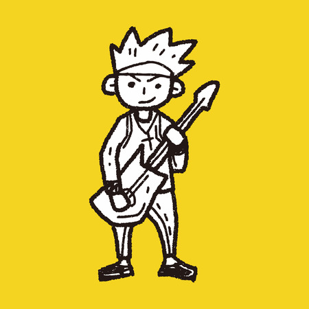 guy playing guitar: rocker doodle
