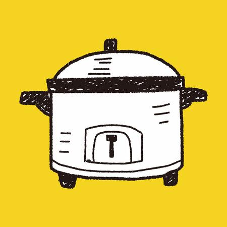 slow food: cooker doodle Illustration