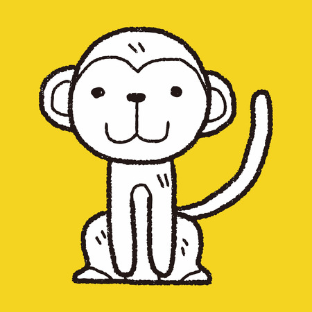 monkey silhouette: monkey doodle Illustration