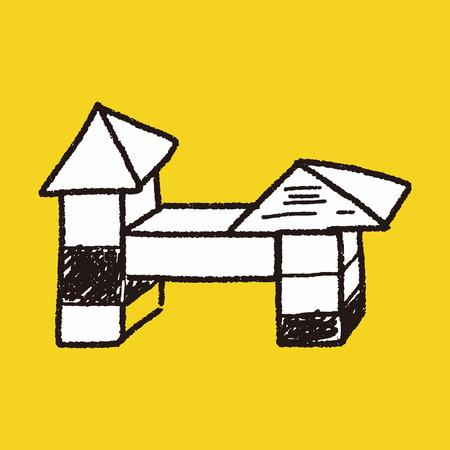 toy block: block toy doodle Illustration