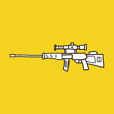 sniper rifle: Sniper rifle doodle Illustration