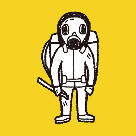 radiation suit: gas mask doodle