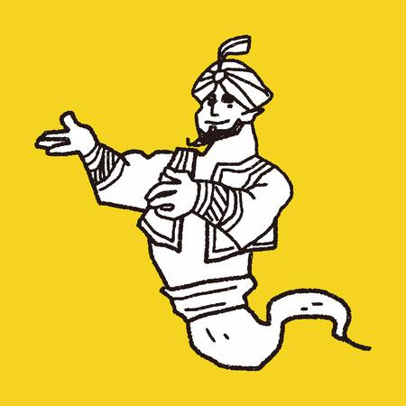 djinn: aladdin doodle Illustration