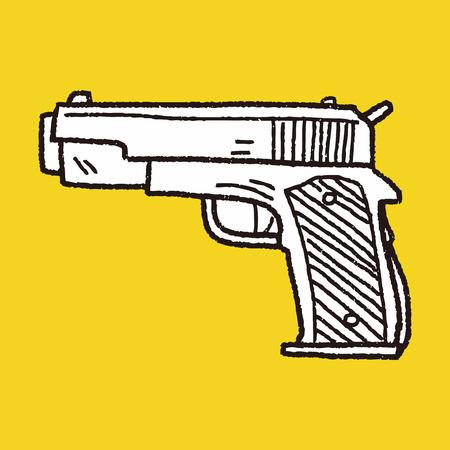 pistola: doodle de arma Vectores