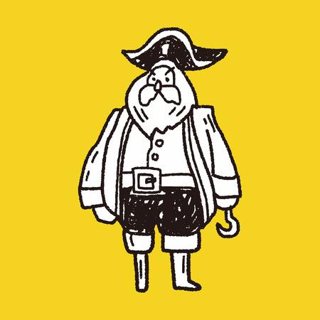 pirate captain doodle Vector