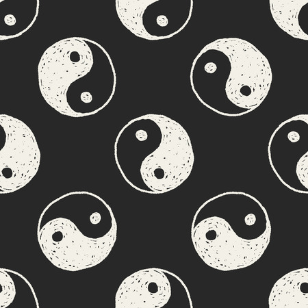 tai chi: Tai Chi doodle seamless pattern background