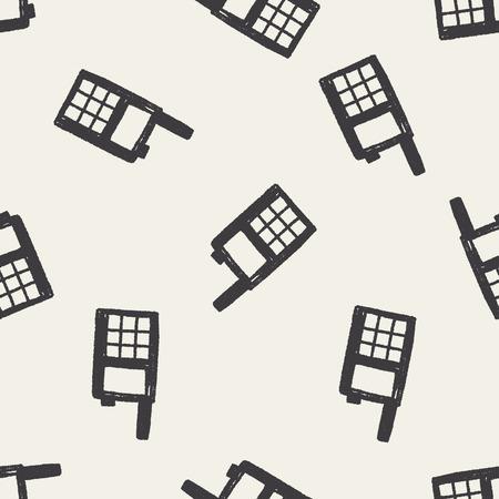 handheld: handheld transceiver doodle seamless pattern background Illustration