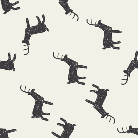 deer doodle seamless pattern background