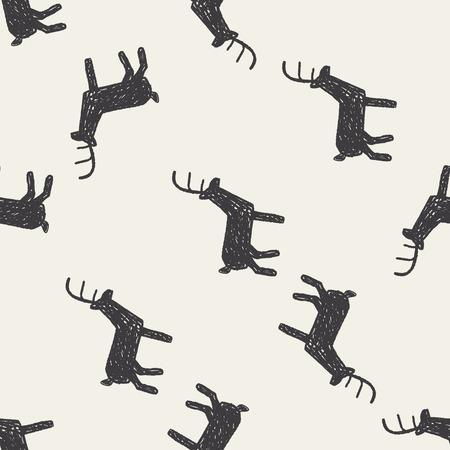 herten doodle naadloze patroon achtergrond