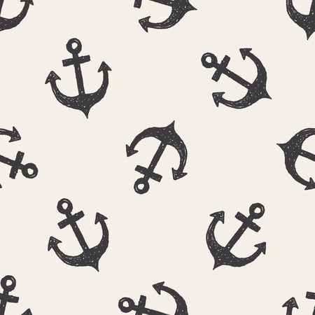 nautical equipment: Anchor doodle seamless pattern background