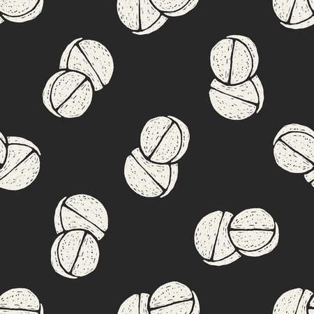 doodle pill seamless pattern background Vector